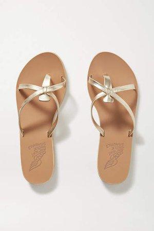 Orea Metallic Leather Sandals - Gold