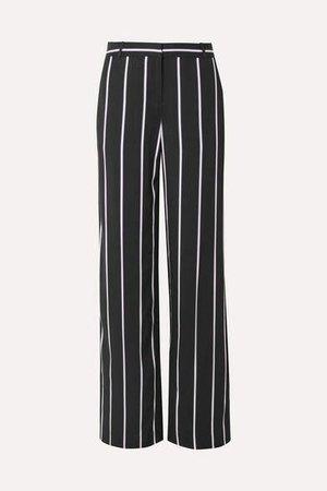 Arwen Striped Twill Wide-leg Pants - Black