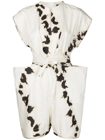 Bassike tie-dye cotton wrap playsuit - FARFETCH
