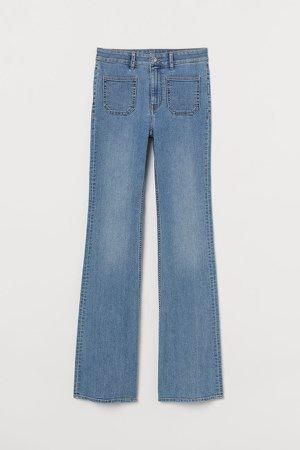 Flared High Waist Jeans - Blue