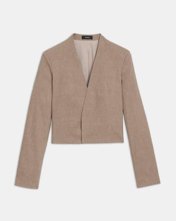 Collarless Blazer in Good Linen | Theory