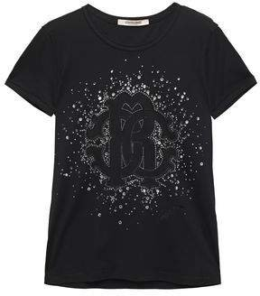 Crystal-embellished Flocked Cotton-jersey T-shirt