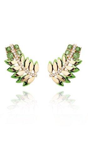 18k Yellow Gold Samambaia Colors Mini Earrings By Carol Kauffmann | Moda Operandi