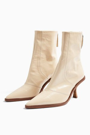 MADISON Cream Pointed Leather Boots   Topshop