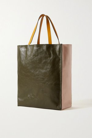 Pastel pink Museo medium color-block crinkled-leather tote | Marni | NET-A-PORTER