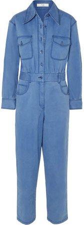 Washed Cotton-blend Twill Jumpsuit - Indigo