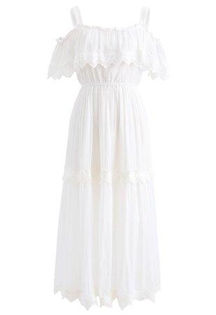 Crochet Trim Cold-Shoulder Dress in White - Retro, Indie and Unique Fashion