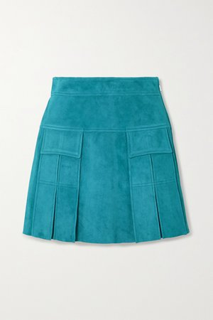 Turquoise Pleated suede mini skirt | Prada | NET-A-PORTER