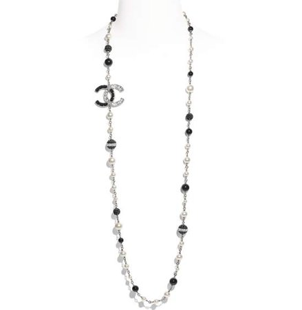 Long Necklace, metal, glass pearls & strass, silver, pearly white, black & crystal - CHANEL