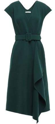 Asymmetric Belted Wool-blend Wrap Dress
