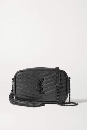 Lou Mini Quilted Textured-leather Shoulder Bag - Black