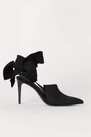 Slingbacks with Ties - Black