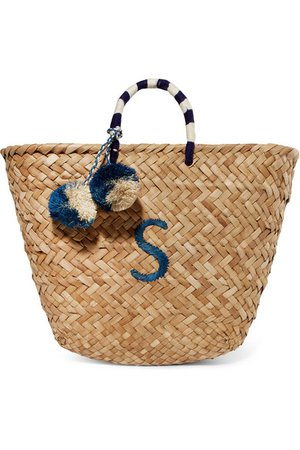 Kayu | St Tropez pompom-embellished embroidered woven straw tote | NET-A-PORTER.COM