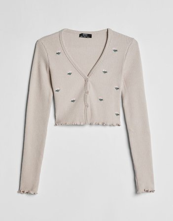 Embroidered cardigan - Sweaters and Cardigans - Woman | Bershka