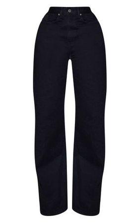 Shape Black Denim Wide Leg Jeans   Curve   PrettyLittleThing