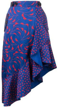 patterned asymmetric skirt
