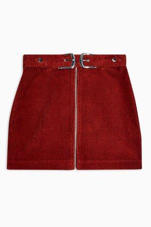 Rust Corduroy Double Buckle Mini Skirt | Topshop