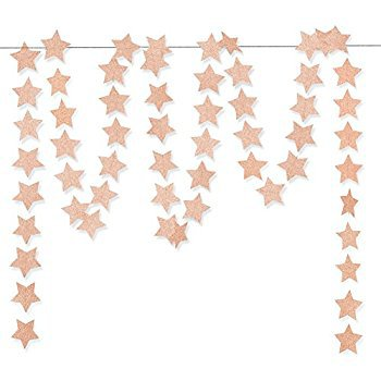 """Amazon.com: Aonor Glitter Pink Champagne Twinkle Star Hanging Garland - Sparkly Paper Five-pointed Bunting Banner String for Birthday Home Decoration, Wedding Photo Booth Props, 2.8"""", Totally 23 ft/7m: Toys & Games"""