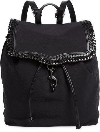Woven Chain Faux Suede Backpack