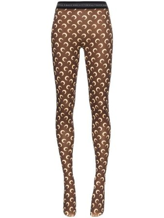 Shop brown Marine Serre Moon print tights with Express Delivery - Farfetch