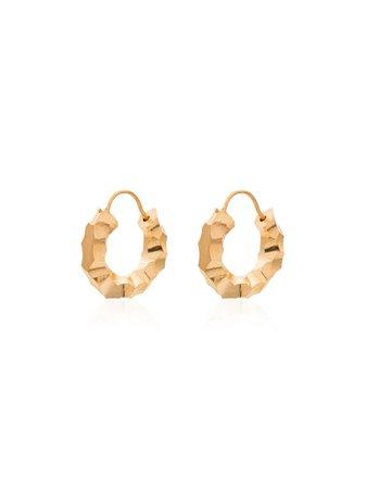 All Blues Carved Gold Vermeil Mini Hoop Earrings For Women   Farfetch.com