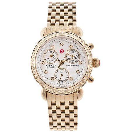 Amazon.com: Michele Womens CSX Diamond Bezel Gold Tone Chronograph Watch: Watches