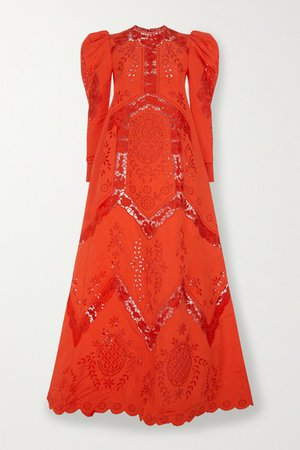Olivier Broderie Anglaise Taffeta Gown - Red
