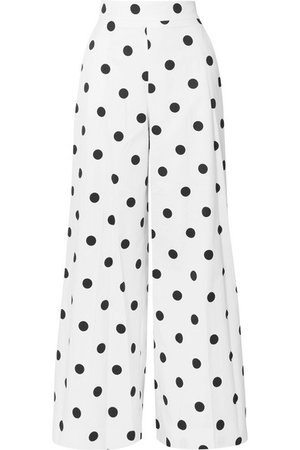 Oscar de la Renta | Polka-dot cotton-twill wide-leg pants | NET-A-PORTER.COM