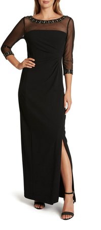 Stretch Crepe Illusion Sleeve Gown