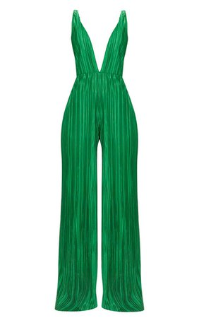 Green Plisse Plunge Strappy Jumpsuit | PrettyLittleThing