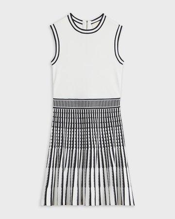 Sleeveless collar skater dress - White | Dresses | Ted Baker AU