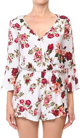 Amazon.com: TwiinSisters Womens Solid & Floral Print Ruffle Sleeve Romper Jumpsuit: Clothing