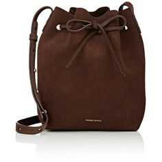 Mansur Gavriel Women's Mini Bucket Bag (29.305 RUB) ❤ liked on Polyvore featuring bags, handbags, shoulder bags, purses, dark brown, brown leather purse, brown shoulder bag, mini bucket bags, drawstring bucket bags and leather handbags