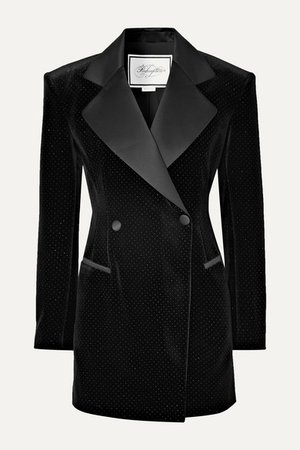 Redemption | Satin-trimmed glittered velvet mini dress | NET-A-PORTER.COM
