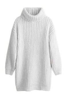 Turtleneck Knitted Sweater - White