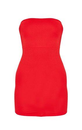 Red Pointy Hem Bandeau Bodycon Dress   PrettyLittleThing USA
