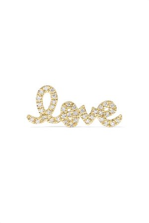 Sydney Evan | Love 14-karat gold diamond earring | NET-A-PORTER.COM