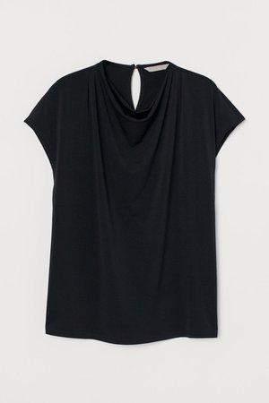 Draped Top - Black - Ladies | H&M US