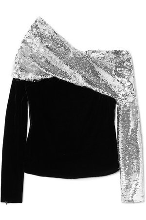 Monse | One-shoulder sequined crepe and velvet top | NET-A-PORTER.COM