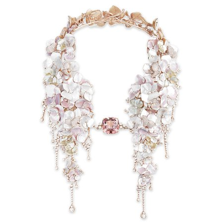 Boucheron, NUAGE DE FLEURS Necklace set with a 42,96 ct cushion pink tourmaline and mother-of-pearl, paved with diamonds, on pink gold