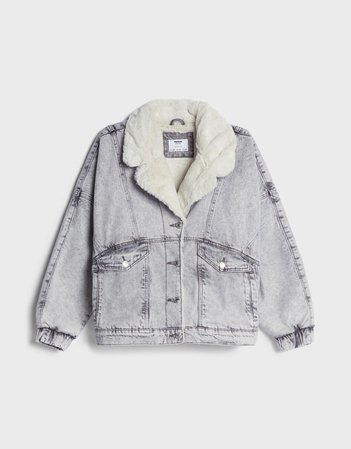 Denim jacket with faux shearling - Outerwear - Woman | Bershka