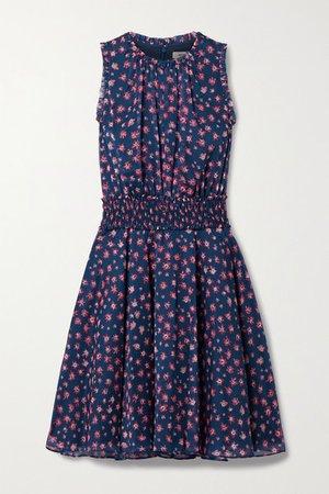 Shirred Floral-print Chiffon Dress - Navy