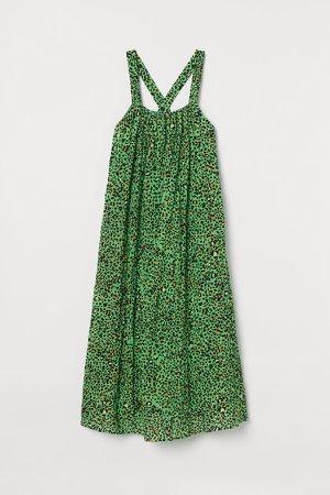 A-line Cotton Dress - Green