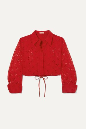 Red Cropped broderie anglaise cotton top | Alaïa | NET-A-PORTER