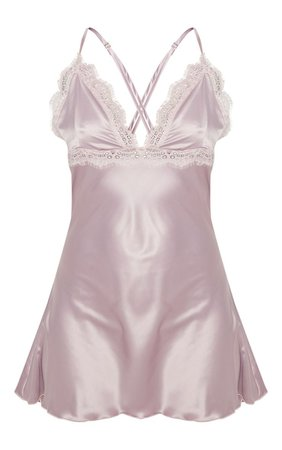 Rose Eyelash Lace Cup Satin Night Dress | PrettyLittleThing
