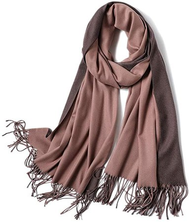 "Cashmere Feel Warm 2 Tone Shawl - Oversized 78""x28"" Wrap Scarf (Rusty Brown and Ivory) at Amazon Women's Clothing store"