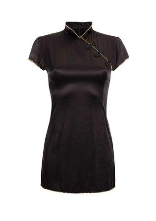 Suki Dress in Black Satin | De La Vali