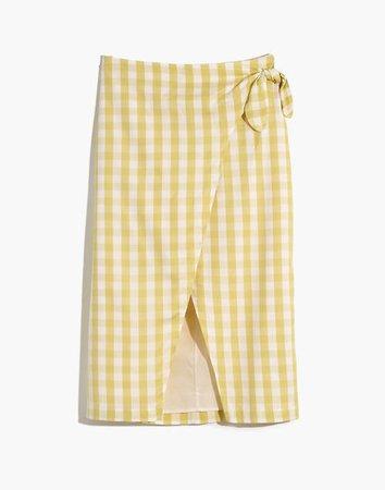 Sarong Midi Skirt in Gingham Check yellow