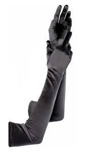 long silk gloves black