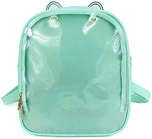 Ita Backpack with Clear Display Window, Cute Cat Ear Ita Bag Daypack for Pins Display (Green): Clothing